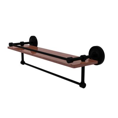 Prestige Regal Collection 22 in. IPE Ironwood Shelf with Gallery Rail and Towel Bar in Matte Black