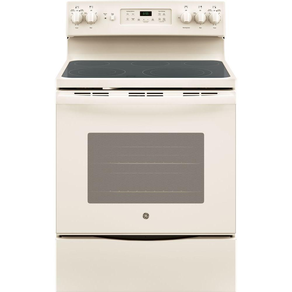 GE 30 in. 5.3 cu. ft. Electric Range with Self-Cleaning Convection Oven in Bisque