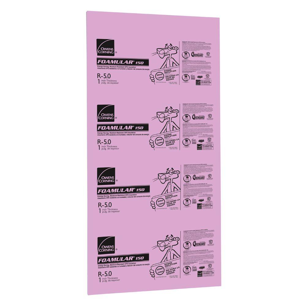 Owens Corning FOAMULAR 150 1 in. x 4 ft. x 8 ft. R-5 Tongue and Groove Insulation Sheathing