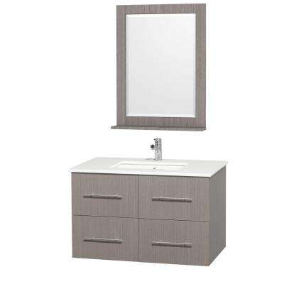 Centra 36 in. Vanity in Grey Oak with Man-Made Stone Vanity Top in White and Square Porcelain Undermounted Sink