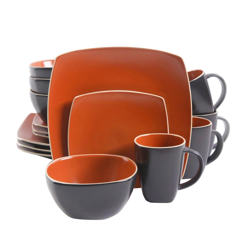 Soho Lounge 16-Piece Orange Brick Matte Dinnerware Set