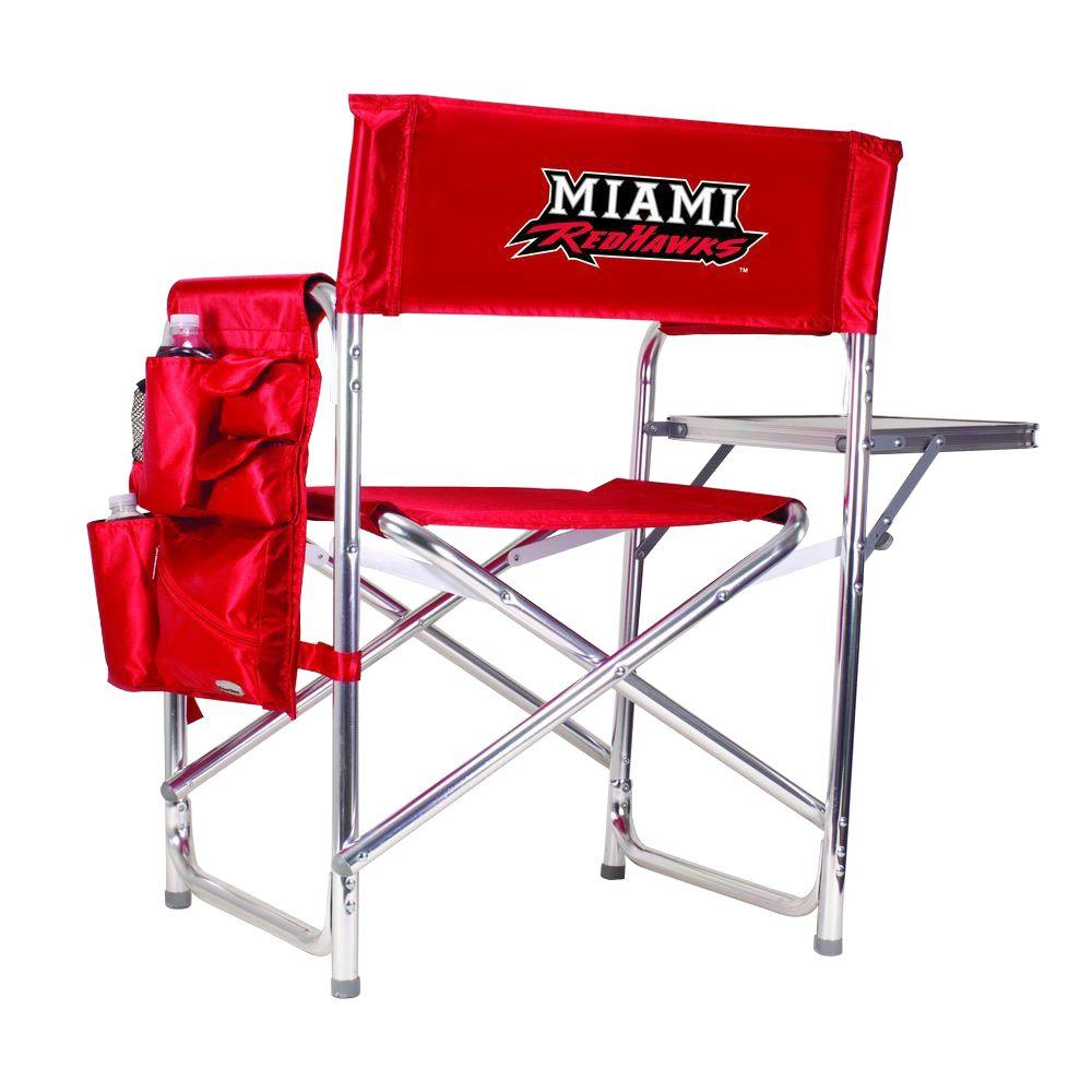 Picnic Time Miami (OH) University Red Sports Chair With Embroidered Logo