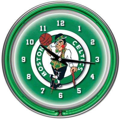 14 in. Boston Celtics NBA Chrome Double Ring Neon Wall Clock