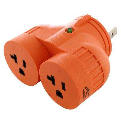 AC WORKS™ Generator V-Duo Outlet Adapter L5-30P 30 Amp 3-Prong Locking Plug to Two 15 Amp/20 Amp Household Outlet