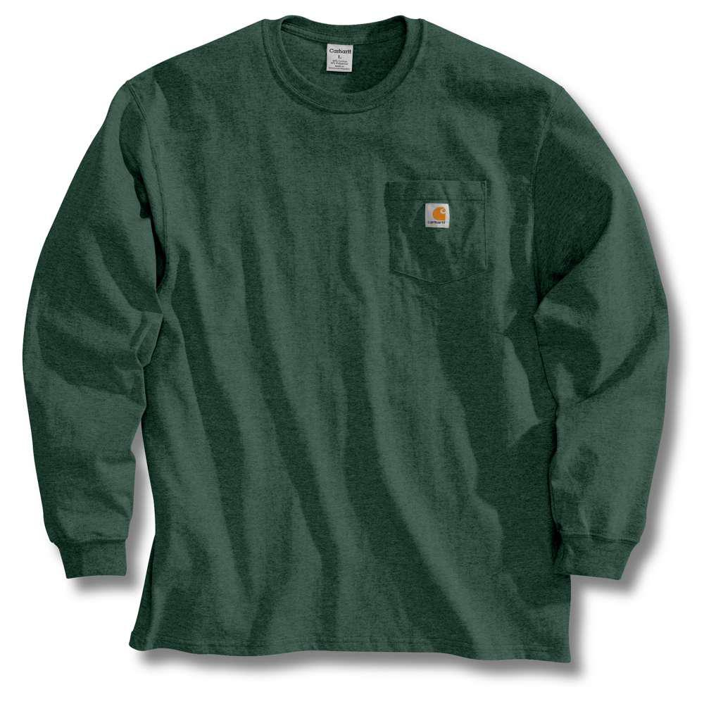 Men's Regular XXXX Large Hunter Green Cotton Long-Sleeve T-Shirt