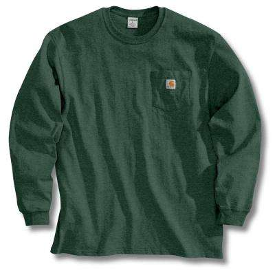 Men's Tall Large Hunter Green Cotton Long-Sleeve T-Shirt