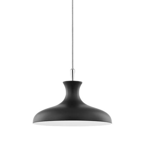 Cassidy 1-Light Polished Nickel/Soft Black Geometric Pendant with Metal Shade