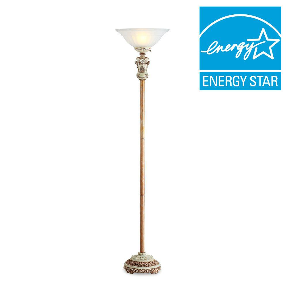 Creamy White Vintage Rose Torchiere Lamp