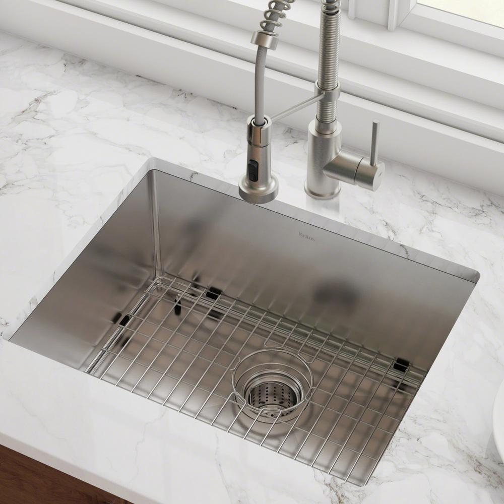 KRAUS KRAUS Standart PRO 23in. 16 Gauge Undermount Single Bowl Stainless Steel Kitchen Sink, Silver