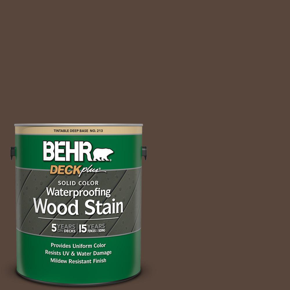 BEHR DECKplus 1 gal. #SC-105 Padre Brown Solid Color Waterproofing Exterior Wood Stain