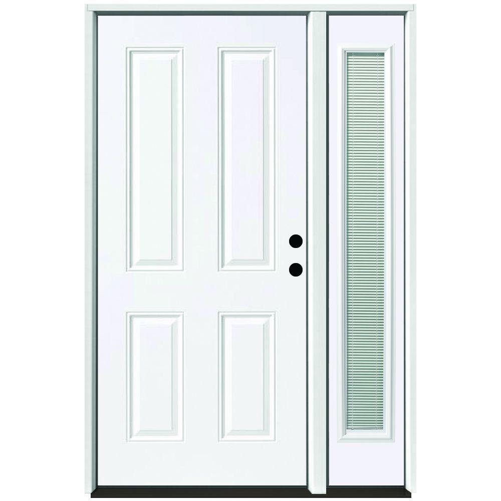 49 in. x 80 in. 4-Panel Primed White Left-Hand Steel  sc 1 st  The Home Depot & 4 Panel - Single door with Sidelites - Steel Doors - Front Doors ... pezcame.com