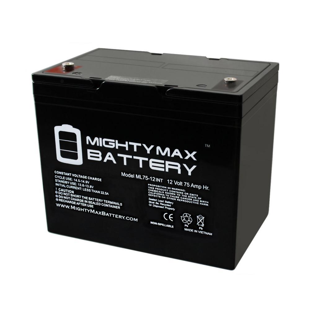 MIGHTY MAX BATTERY 12-Volt 75 Ah Rechargeable Sealed Lead Acid (SLA) Internal Thread Battery