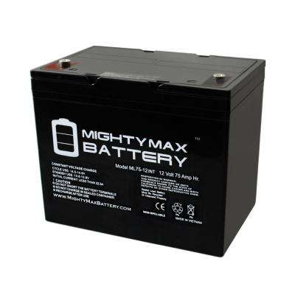 12-Volt 75 Ah Rechargeable Sealed Lead Acid (SLA) Internal Thread Battery