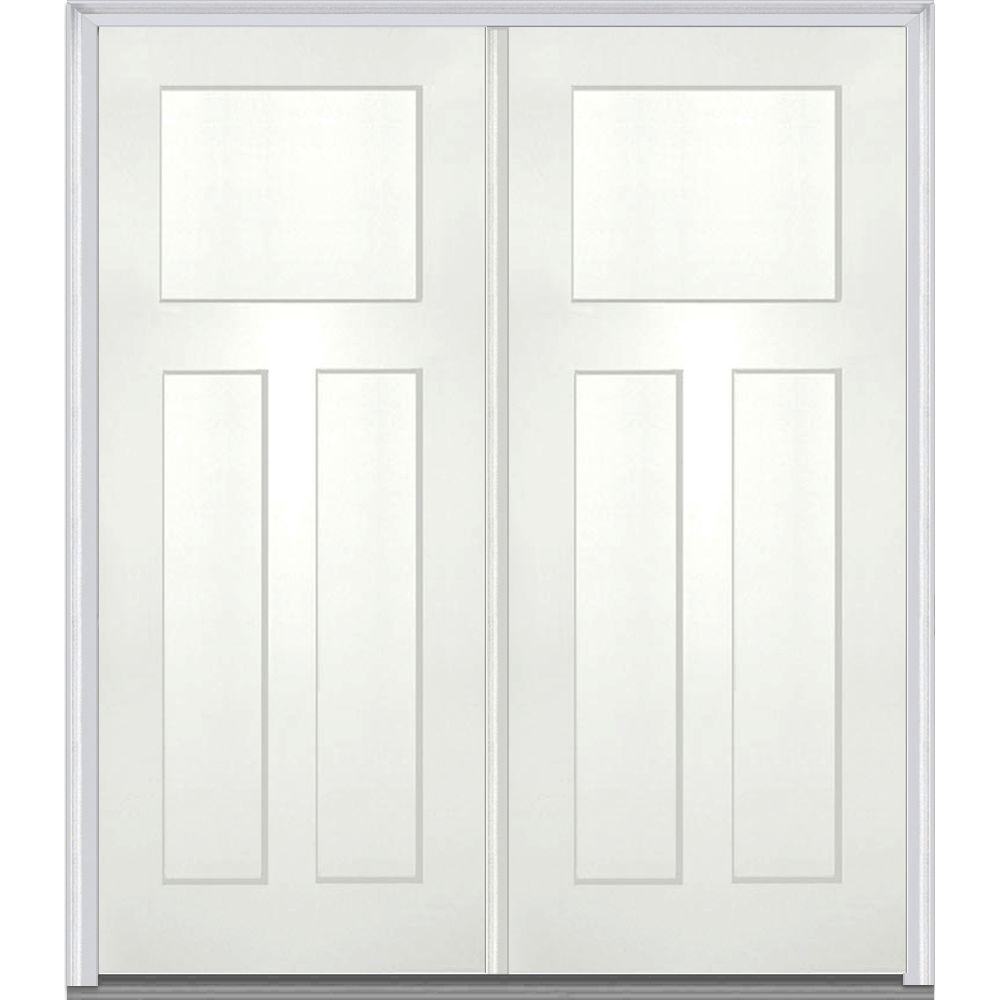 MMI Door 64 in. x 80 in. Classic Right-Hand Inswing Craftsman 3-Panel Painted Fiberglass Smooth Prehung Front Door with Brickmold