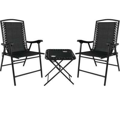 Black Sling Folding Beach Chair Set with Matching Side Table (Set of 2)