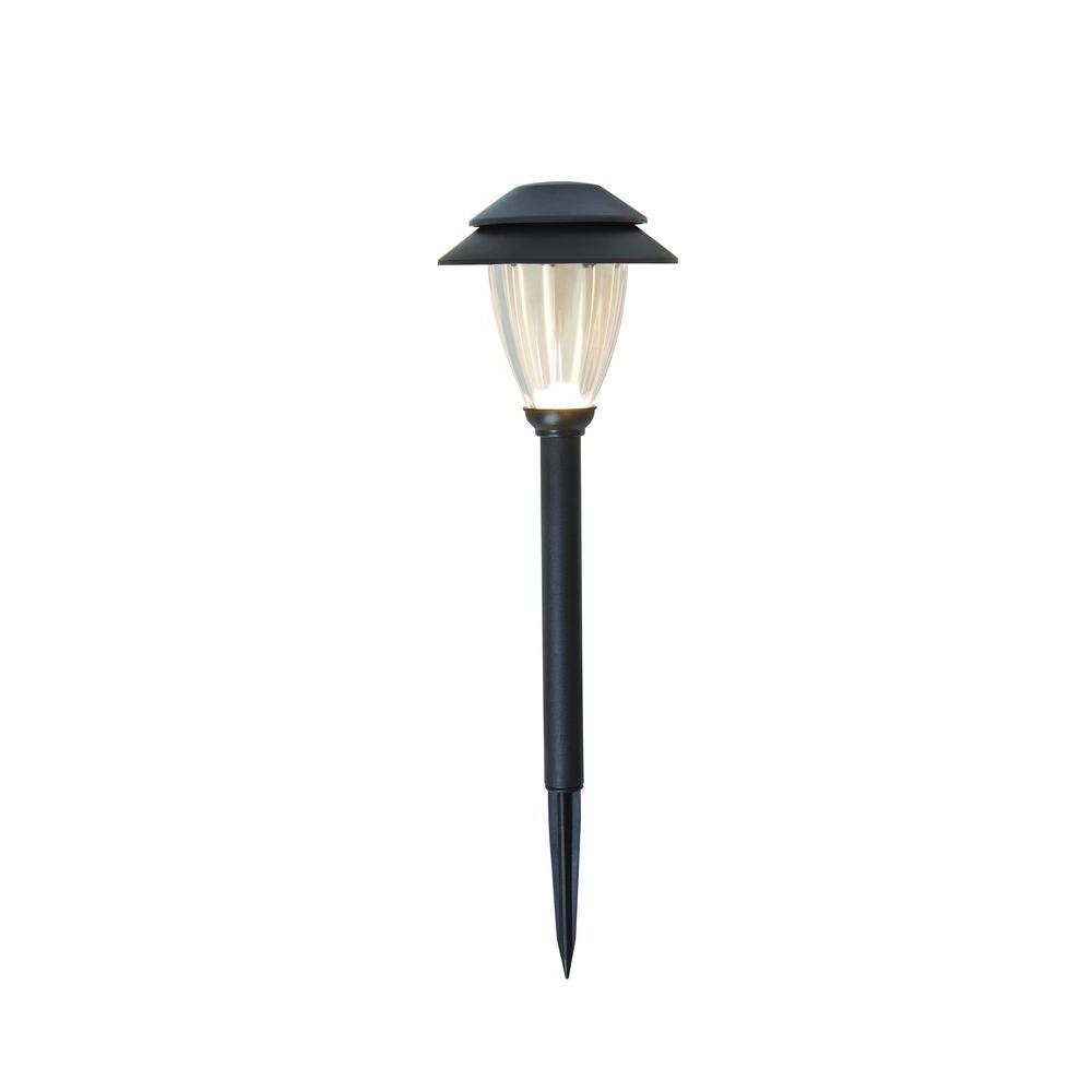 Low-Voltage Black Outdoor Integrated LED Landscape Path Light Set with