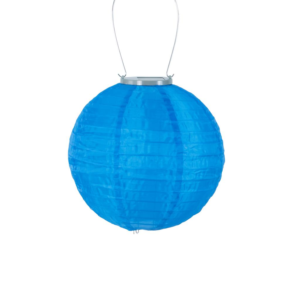 Glow 10 In Blue Round Integrated Led Hanging Outdoor Nylon Solar Lantern