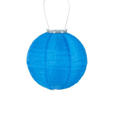 Glow 10 in. Blue Round Integrated LED Hanging Outdoor Nylon Solar Lantern