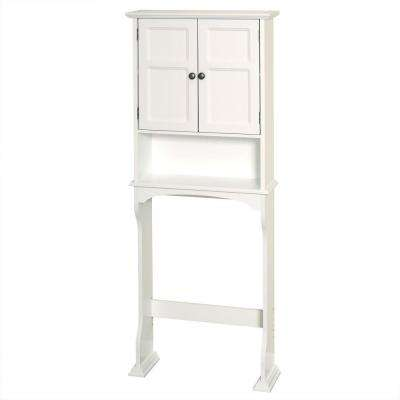 Collette 25-1/2 in. W x 64-1/5 in. H x 8-1/2 in. D 2-Door Over the Toilet Storage Cabinet in White