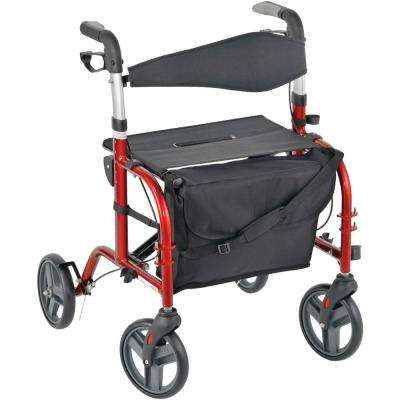 4-Wheel Comfort Series Premium Rollator-Transport Chair in Cherry Red