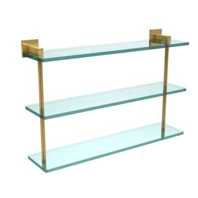 Montero 22 in. L  x 15 in. H  x 6-1/4 in. W 3-Tier Clear Glass Bathroom Shelf in Polished Brass