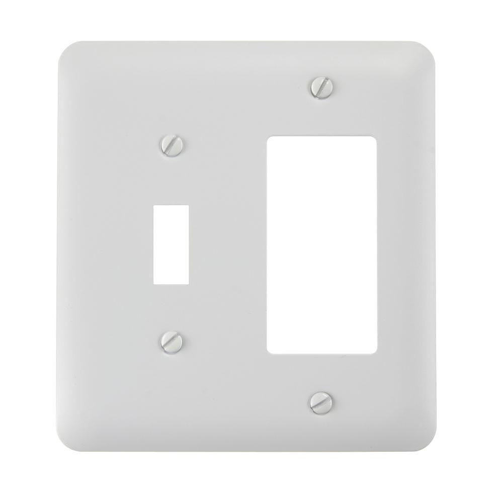 Hampton Bay Declan 1 Toggle 1 Rocker Combination Wall Plate White