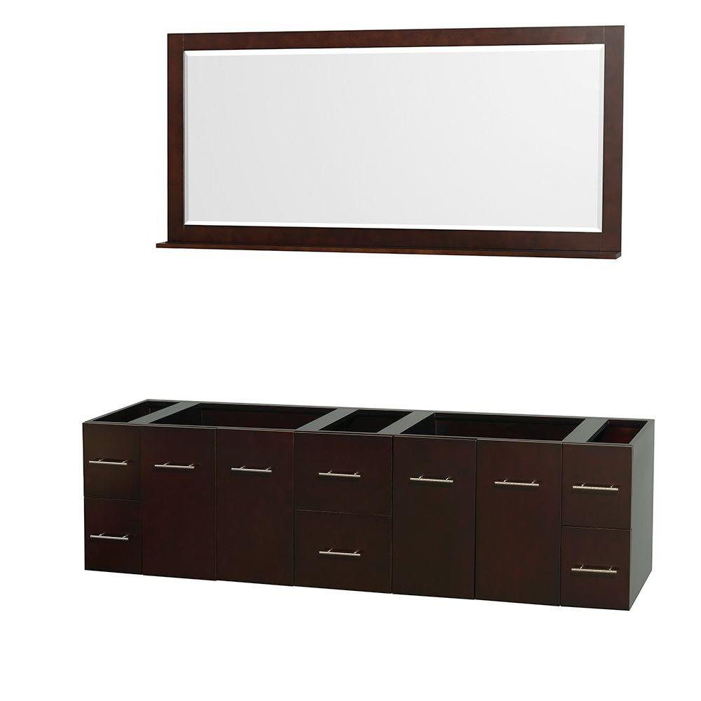 Wyndham Collection Centra 79 In Double Vanity Cabinet With Mirror In Espresso