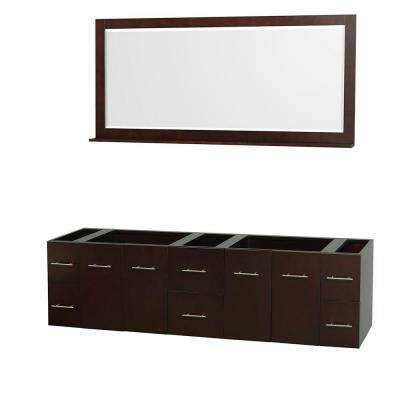 Centra 79 in. Double Vanity Cabinet with Mirror in Espresso