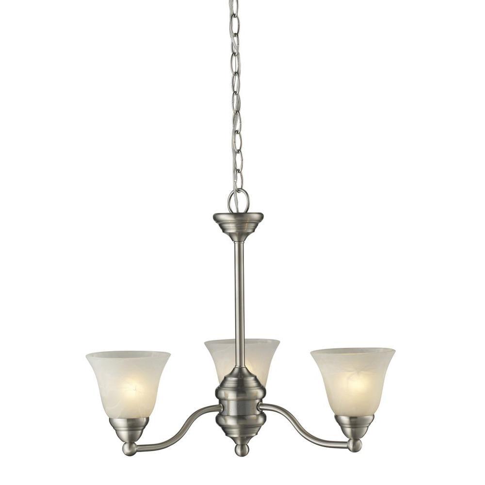 Lawrence 3-Light Brushed Nickel Incandescent Ceiling Chandelier