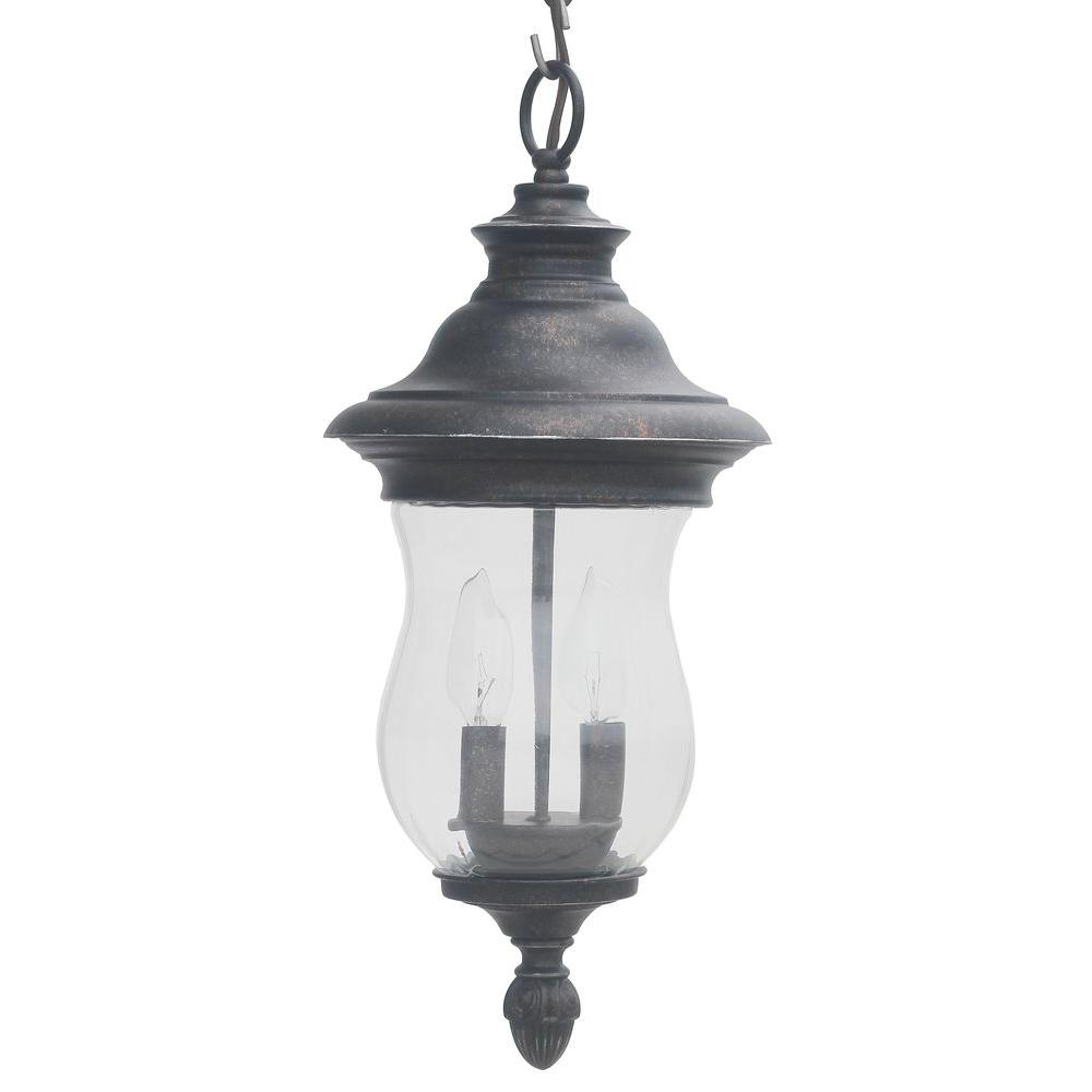 Home Decorators Collection Wesleigh 2 Light Bronze Outdoor Chain Hung Lantern 23434