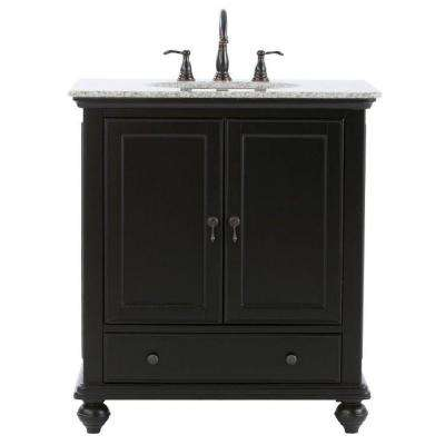 Newport 31 in. W x 21-1/2 in. D Bath Vanity in Black with Granite Vanity Top in Gray