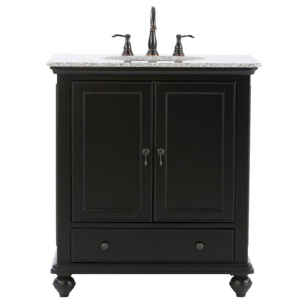 Home Decorators Collection Newport 31 in. W x 21-1/2 in. D Bath Vanity in Black with Granite ...