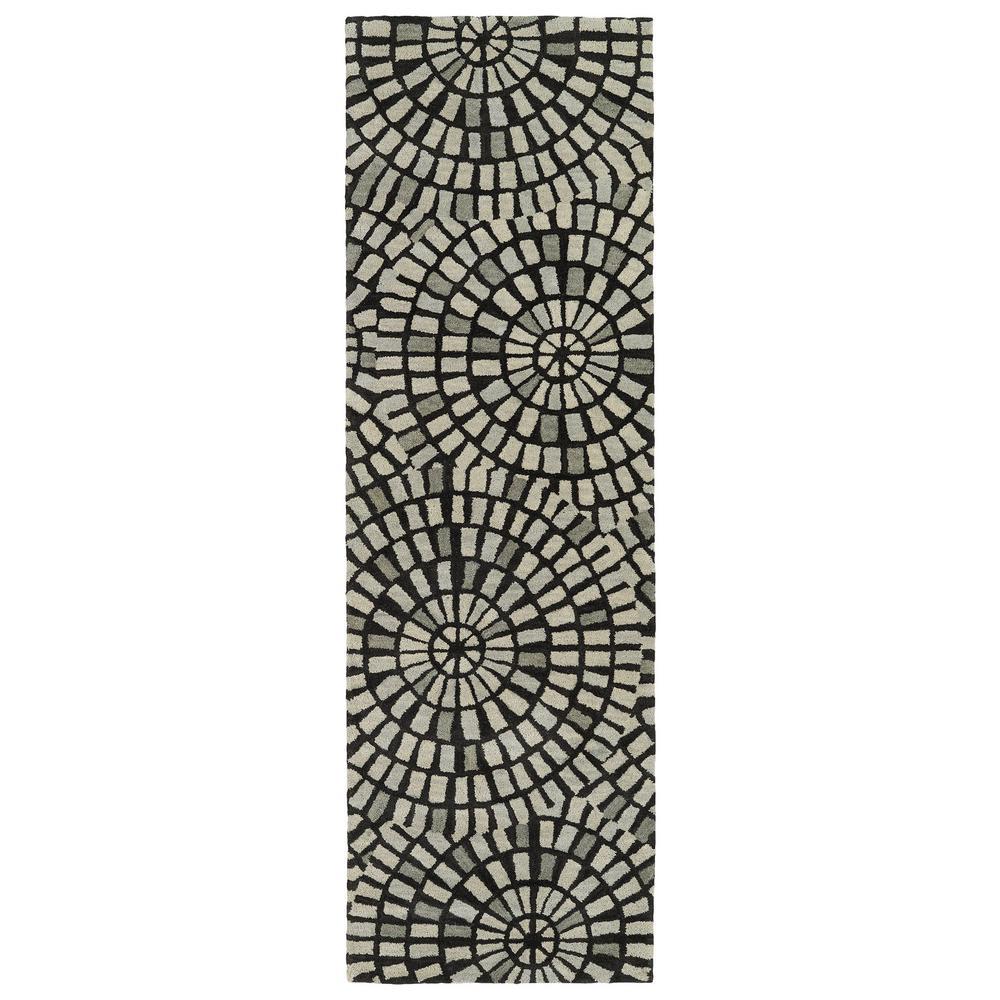 Kaleen Art Tiles Black 3 ft. x 8 ft. Runner Rug