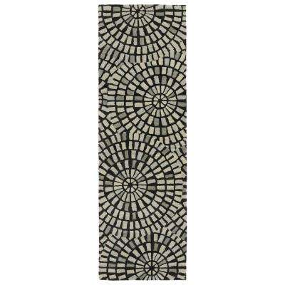 Art Tiles Black 3 ft. x 8 ft. Runner Rug