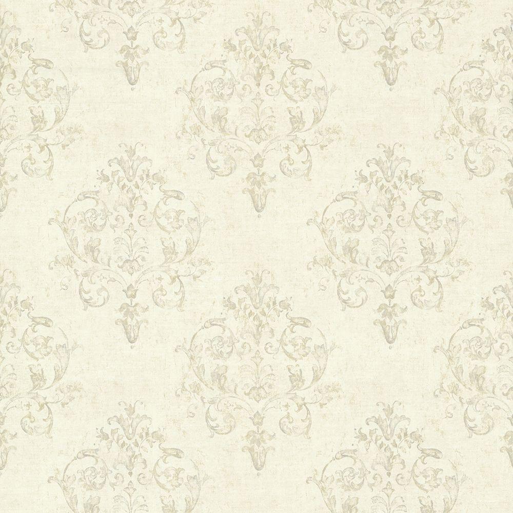 Chesapeake Arronsburg Linen Damask Wallpaper, White