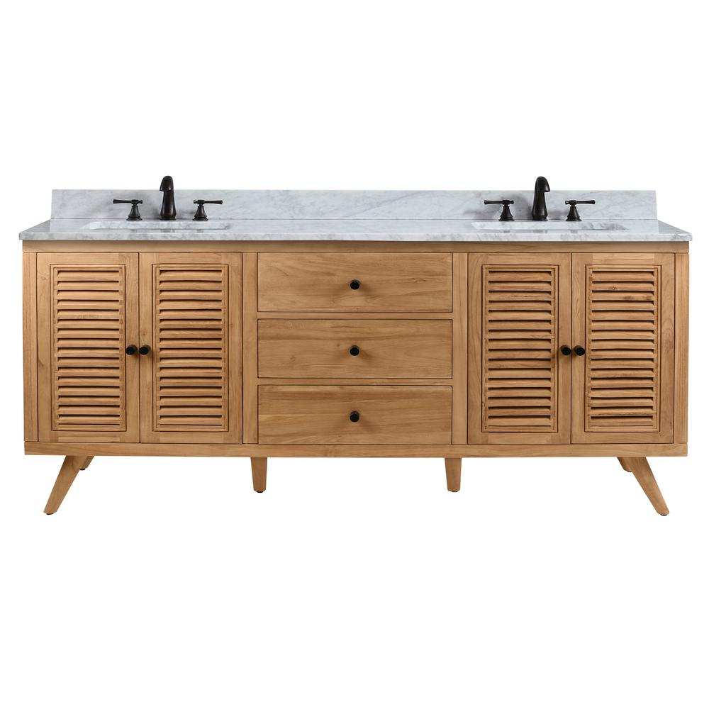 Avanity Harper 73 in. Vanity in Natural Teak with Carrera White Basin Marble Top