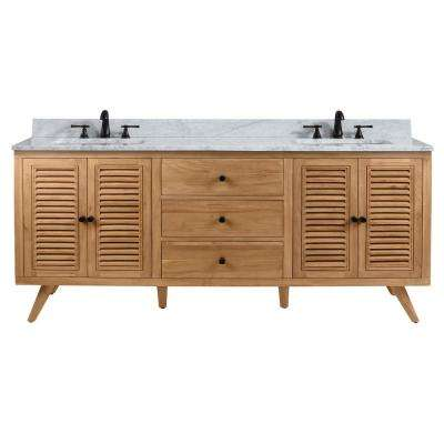 Harper 73 in. Vanity in Natural Teak with Carrera White Basin Marble Top