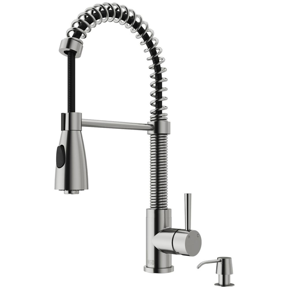 Brant Single-Handle Pull-Down Sprayer Kitchen Faucet with Soap Dispenser in