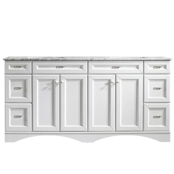 Naples 72 in. W x 22 in. D x 35 in. H Vanity in White with Marble Vanity Top in White with Basin