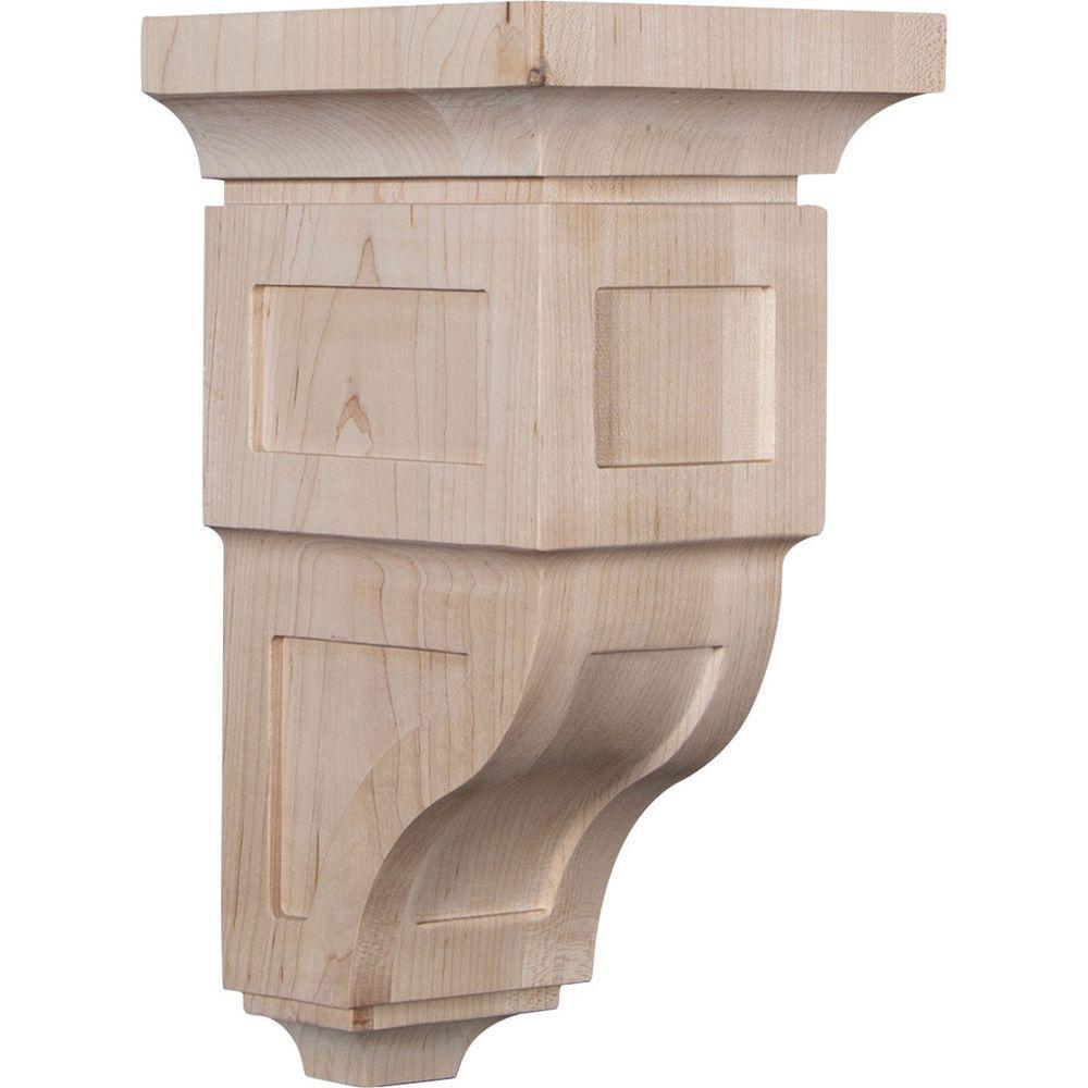 6 in. x 12 in. x 6-3/4 in. Rubberwood Large Reyes Wood Corbel