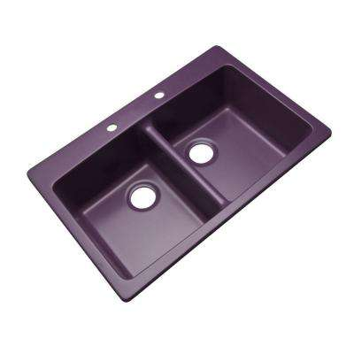 Waterbrook Dual Mount Composite Granite 33 in. 2-Hole Double Bowl Kitchen Sink in Plum