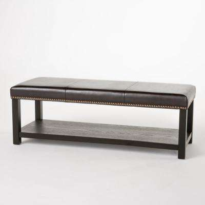 Avary Brown Bench with Rack