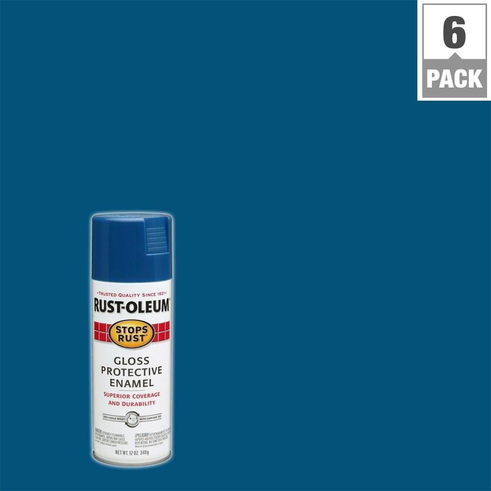 Rust Oleum Stops 12 Oz Protective Enamel Gloss Royal Blue Spray Paint 6 Pack 7727830 The Home Depot
