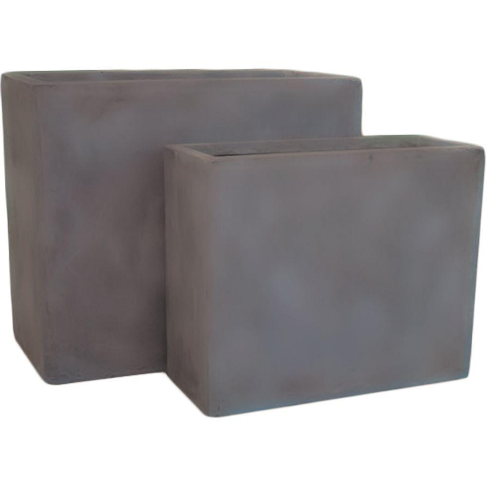 Pride Garden Products Origins Collection Stoney 24 in. and 20 in. Fiberclay Chocolate Rectangle Planter Set