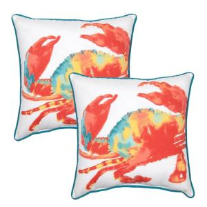 Crab Shack Square Outdoor Throw Pillow with Welt (2-Pack)