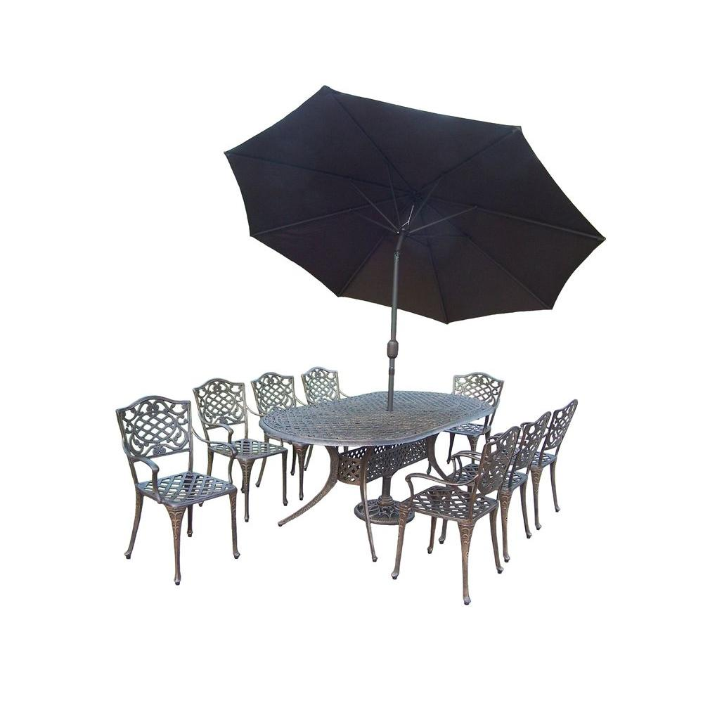Oakland Living Mississippi 9-Piece Oval Patio Dining Set with 2-Piece Patio Umbrella Set