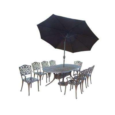 Mississippi 9-Piece Oval Patio Dining Set with 2-Piece Patio Umbrella Set