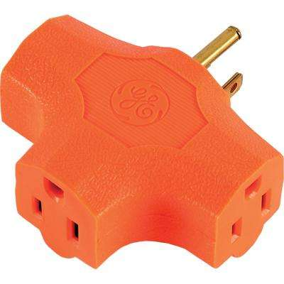 15 Amp Grounded T-shaped Outlet Tap Adapter - Orange