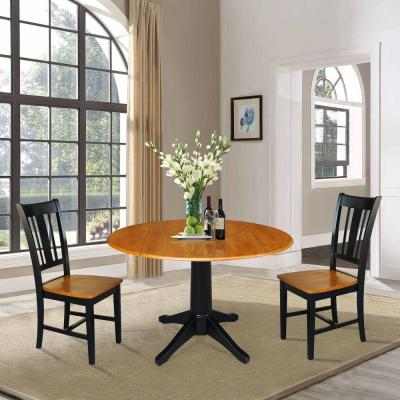 Olivia 3-Piece Black and Cherry 42 in. Dropleaf Table and San Remo Side Chair Dining Set