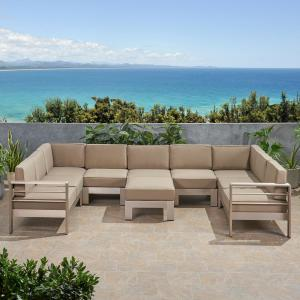 Cape Coral Silver 8-Piece Aluminum Outdoor Sectional Set with Khaki Cushions
